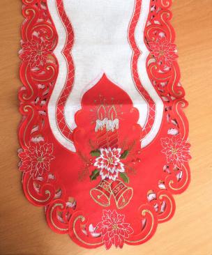 Weihnachtstischläufer mit Kerzen und Glocken in rot 41*91 cm