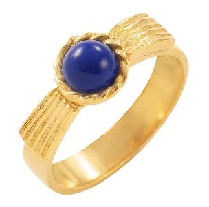 Ring in Silber 925/- goldplattiert mit einem Lapislazuli. Größe 17