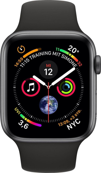 "APPLE Smart Watch ""Watch Series 4"" (GPS + Cellular, 44 mm Aluminiumgehäuse, Space Grau/Schwarz)"