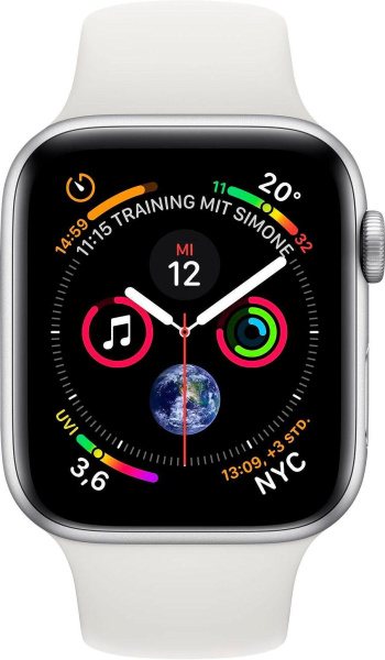"APPLE Smart Watch ""Watch Series 4"" (GPS, 44 mm Aluminiumgehäuse, Silber/Weiß)"