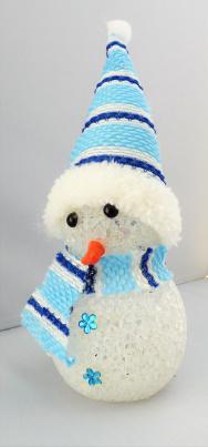 Weihnachtsdekoration Mini Schneemann mit LED-Farbwechsel blau