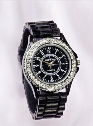 Damen-Armbanduhr Crystalbesatz schwarz