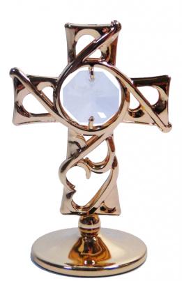 Goldfigur Kreuz mit Swarovski® Kristallen