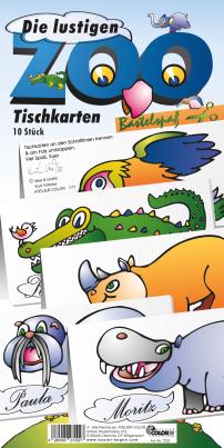 Bastelbogen Tischkarten Zootiere