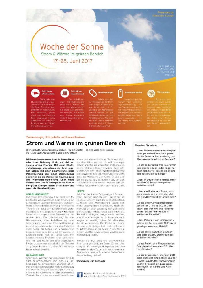 Info-Zeitung zur Woche der Sonne 2017