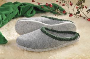 Walker-Pantoffeln mit Filz-Sohle (grau) Gr.47/48